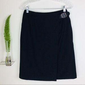 Talbots Trendy Stylish Wool Black Overlap Skirt